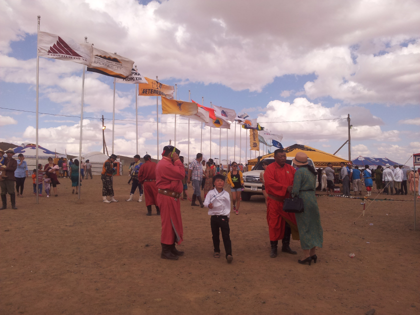 Corporate flags flying at Tsogt-Tsetsii Naadam