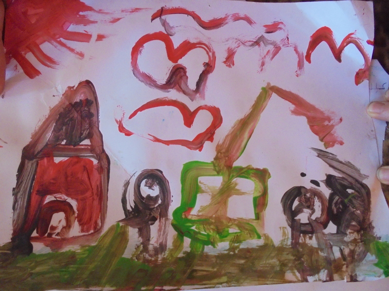 Demolition of a home in East Jerusalem, as depicted by a child of the Amro family. The children continue to suffer from anxiety, trauma, and bed-wetting following the partial demolition of their home in 2015.