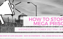 Image shows a megaphone with text in pink saying 'how to stop a mega prison'. There is a grey prison in the background