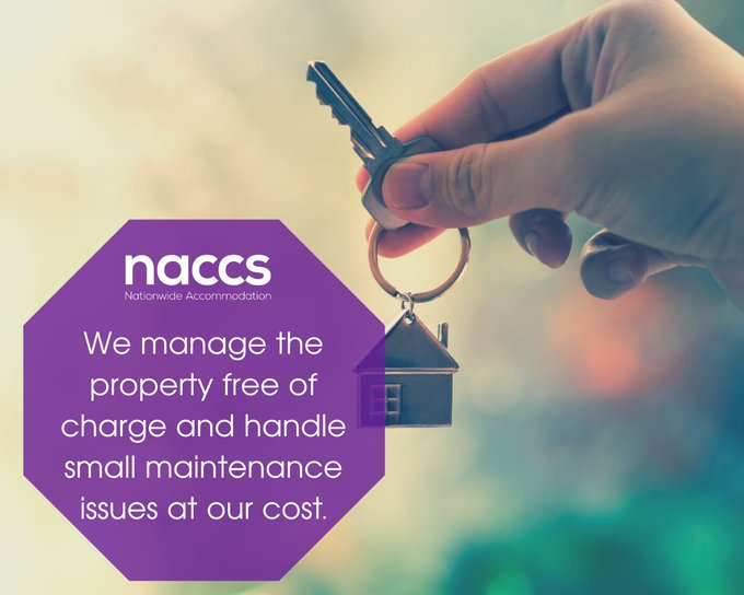 Image shows a person holding a key and a purple box saying 'NACCS. We manage the property free of charge and handle small maintenance issues at our cost